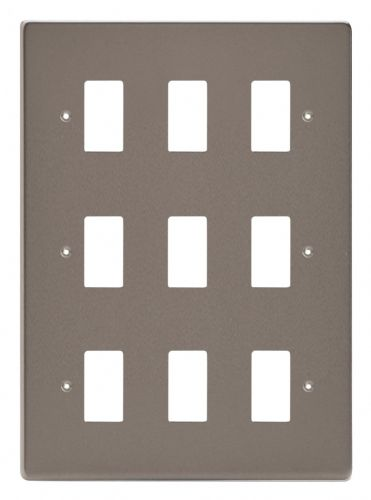 Varilight XDRPG9 PowerGrid Pewter 9-Gang Grid Plate (Triple Twin Plate)